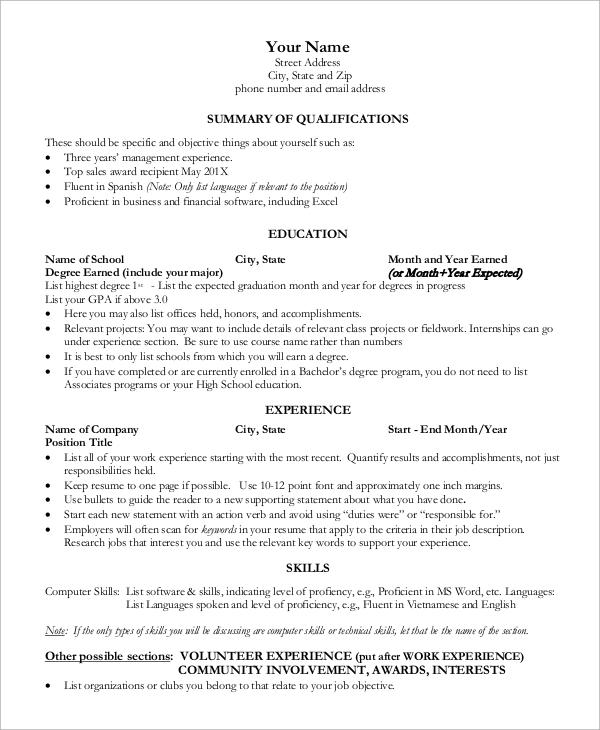 free sample one resume templates in ms word pdf summary for freshers entry level Resume One Page Summary Resume