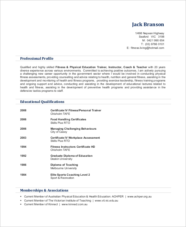 free sample personal trainer resume templates in ms word pdf format certified Resume Personal Trainer Resume Format