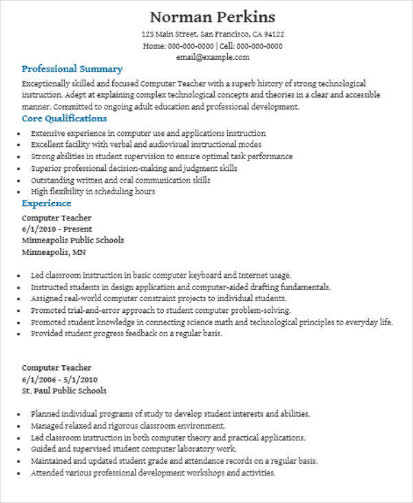 free teacher resume templates in pdf ms word for computer fresher technology microsoft Resume Resume For Computer Teacher Fresher