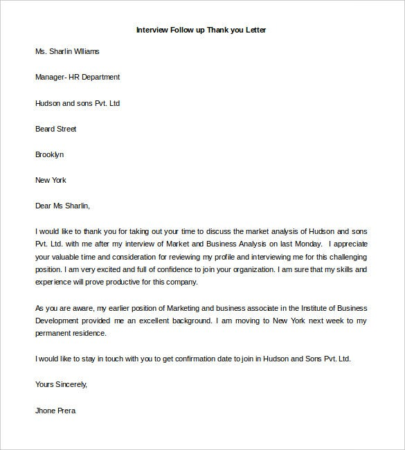 free thank you letter templates pdf premium for resume template interview follow up Resume Thank You Letter For Resume Template