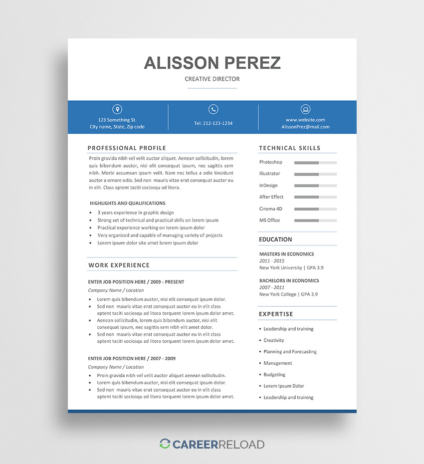 free word resume template alisson career reload templates sending email with and cover Resume Free Resume Templates Word
