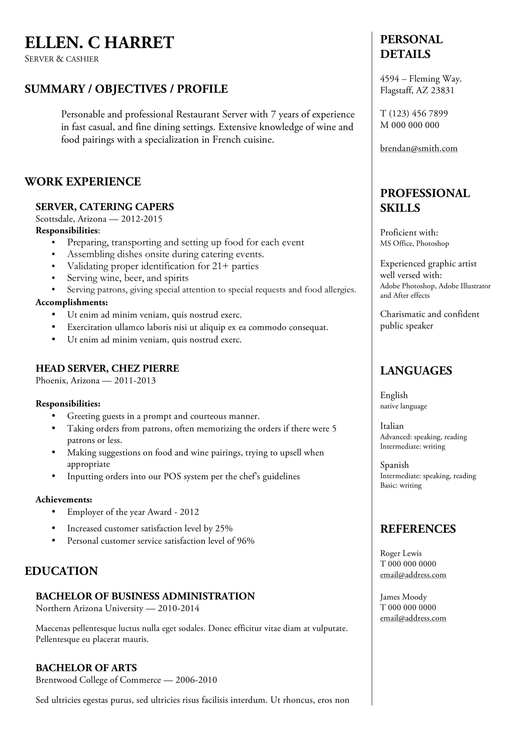 free word resume templates in ms functional template server internship application Resume Functional Resume Template Word 2003