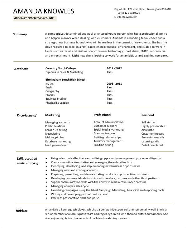fresher resume samples free premium templates format for 12th pass accountant executive Resume Resume Format For Fresher 12th Pass