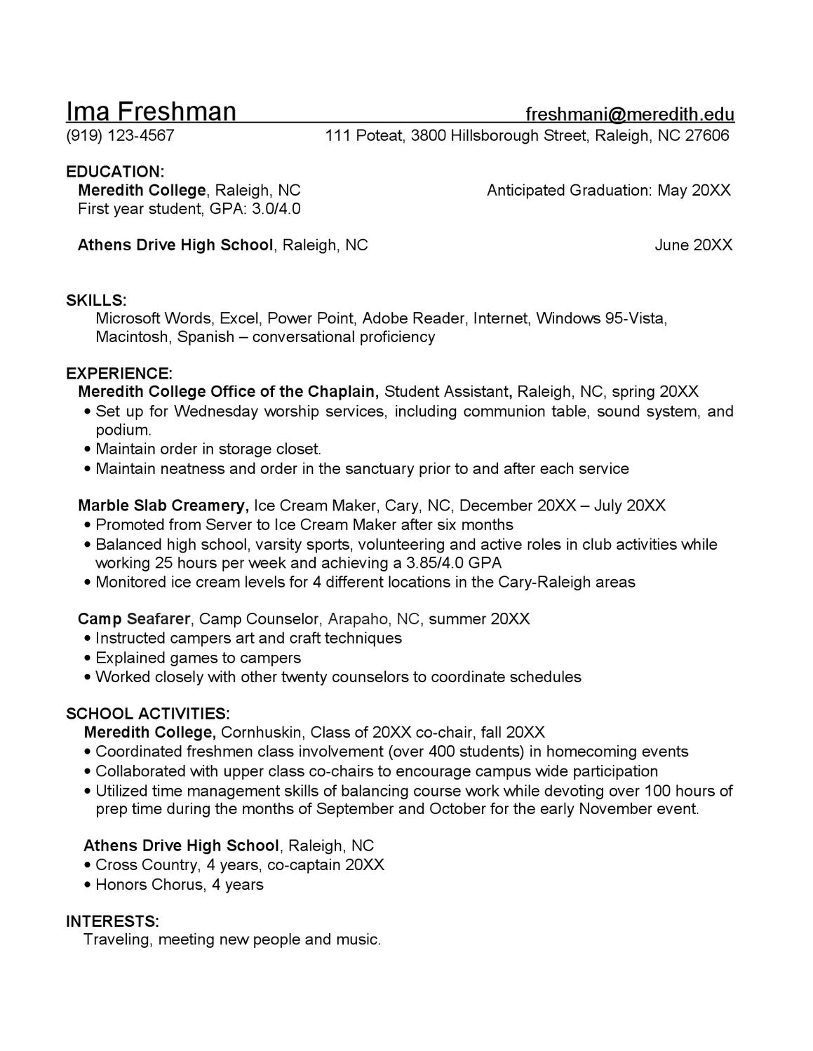 freshman resume sample by meredith college academic career planning issuu data scientist Resume Freshman College Resume Sample