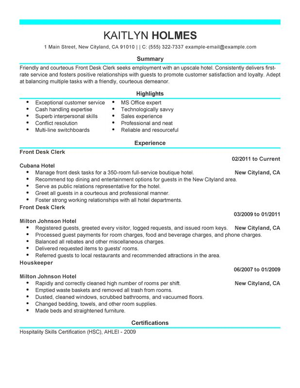 front desk clerk resume examples created by pros myperfectresume duties for hotel and Resume Front Desk Clerk Duties For Resume