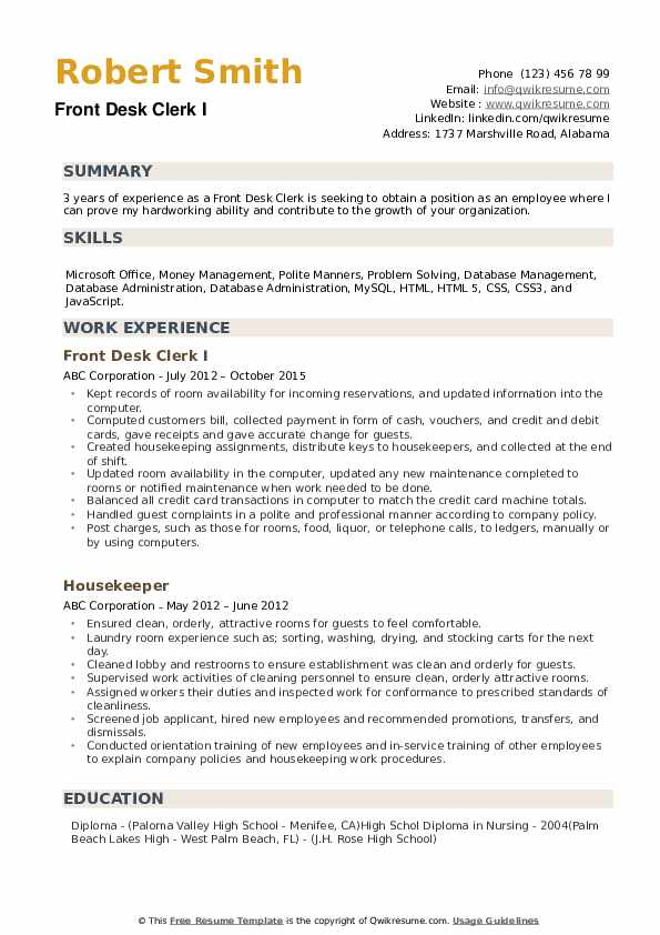 front desk clerk resume samples qwikresume duties for pdf entry level customer service Resume Front Desk Clerk Duties For Resume