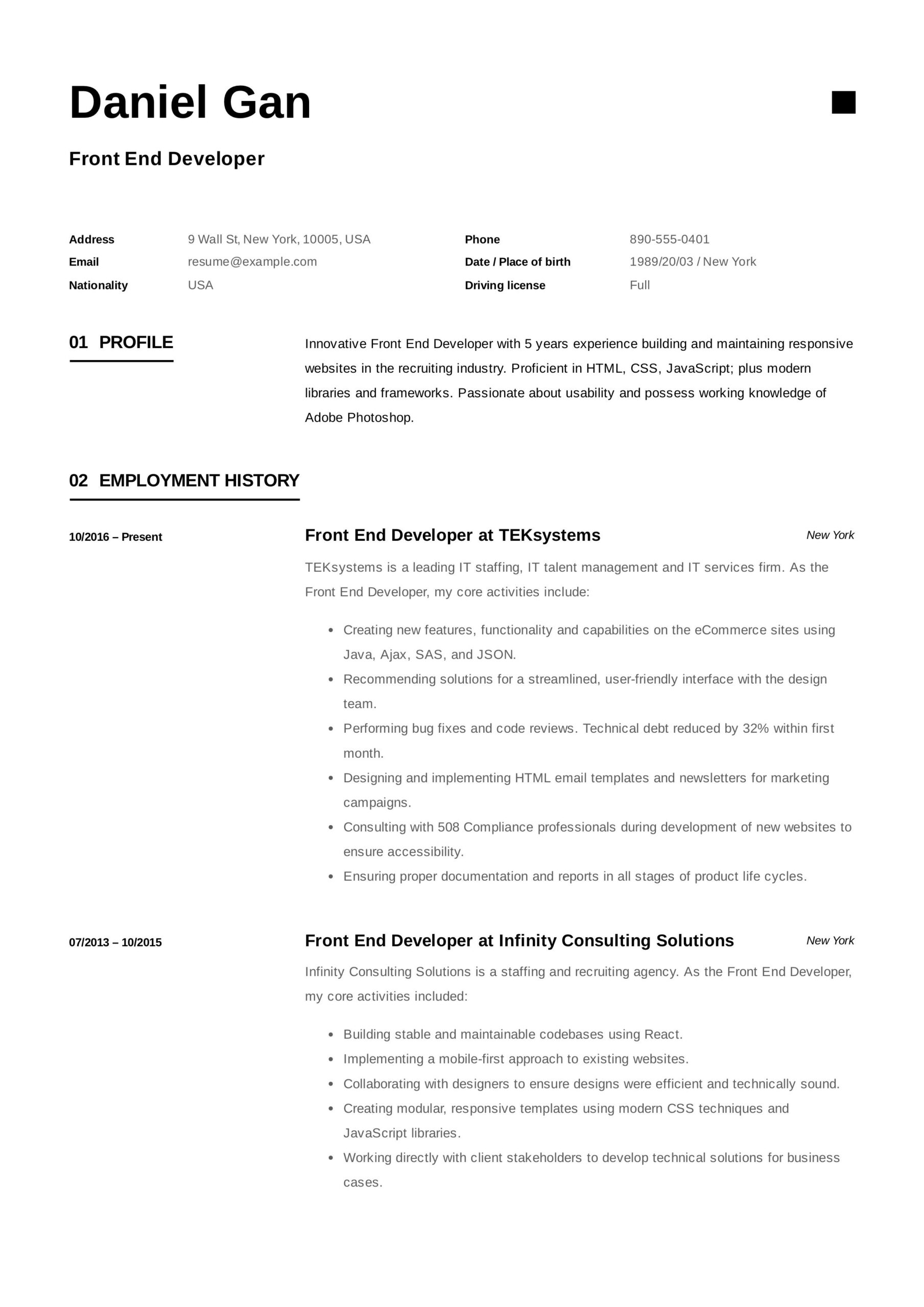 front end developer resume example examples template web development manager livecareer Resume Web Development Manager Resume