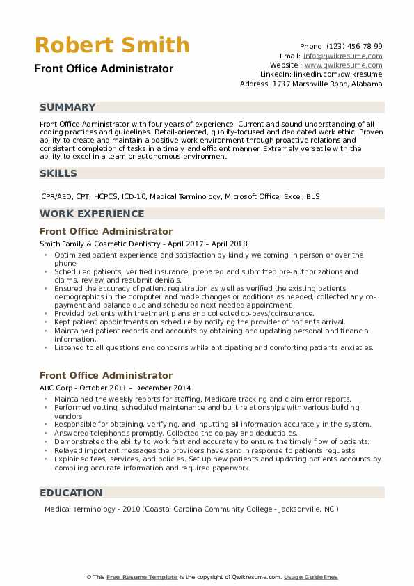 front office administrator resume samples qwikresume management duties for pdf objective Resume Office Management Duties For A Resume