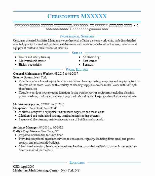 general maintenance worker resume example resumes livecareer man objective professional Resume Maintenance Man Resume Objective