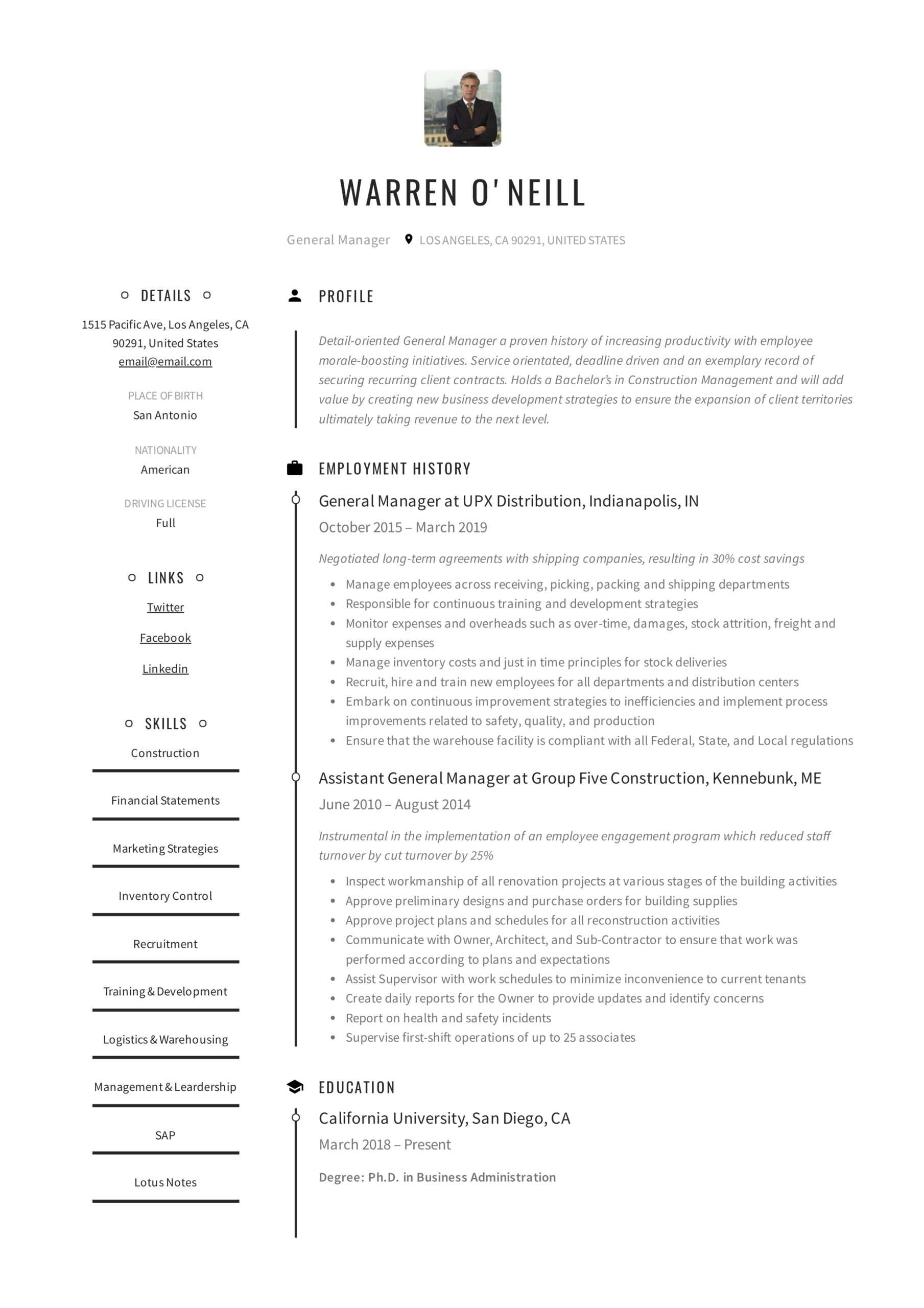 general manager resume writing guide examples pdf service delivery executive neill Resume Service Delivery Executive Resume