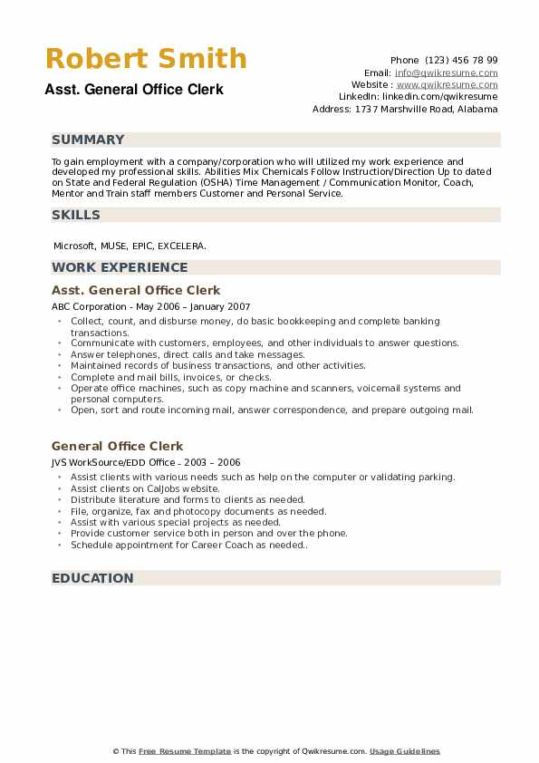 general office clerk resume samples qwikresume caljobs building template pdf sticky note Resume Caljobs Resume Building Template