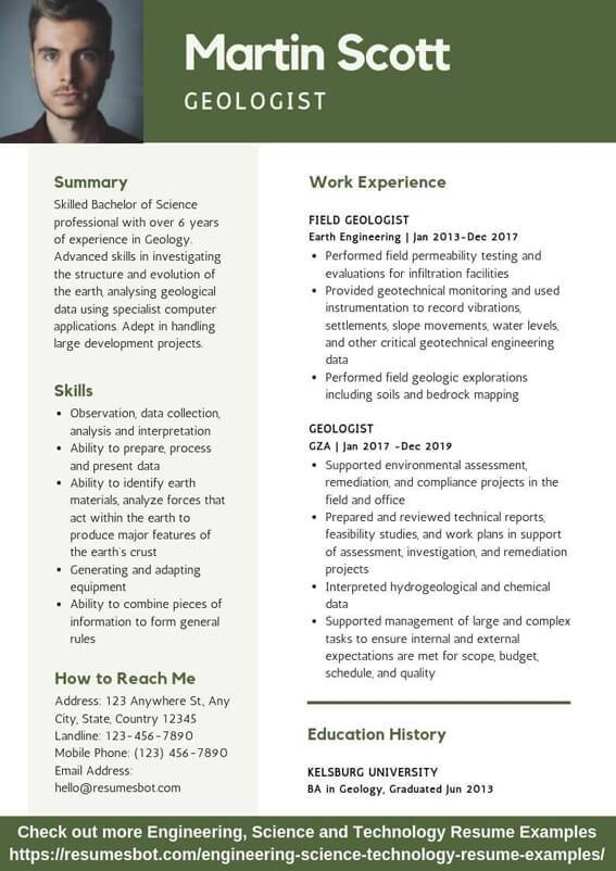 geologist resume samples templates pdf resumes bot friendly template example free Resume Mobile Friendly Resume Template