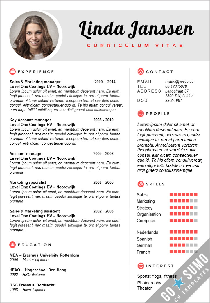 go sumo cv template on creative resume in word incl matching cover letter https Resume Resume Template Sharelatex