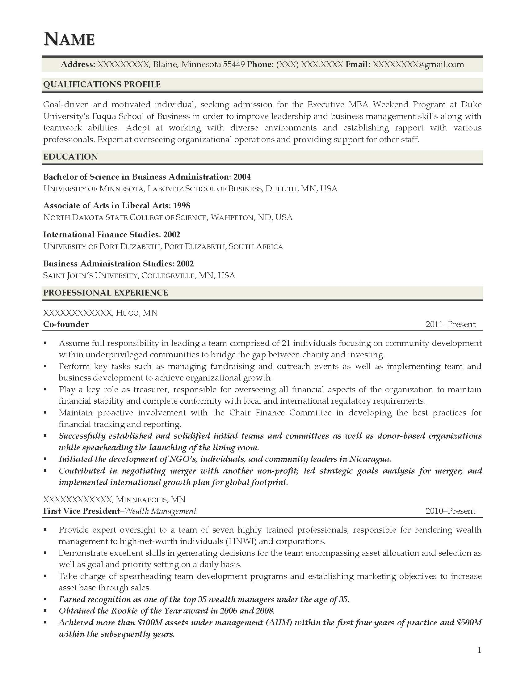 good resume examples for all careers prime duke fuqua template executive mba weekend Resume Duke Fuqua Resume Template