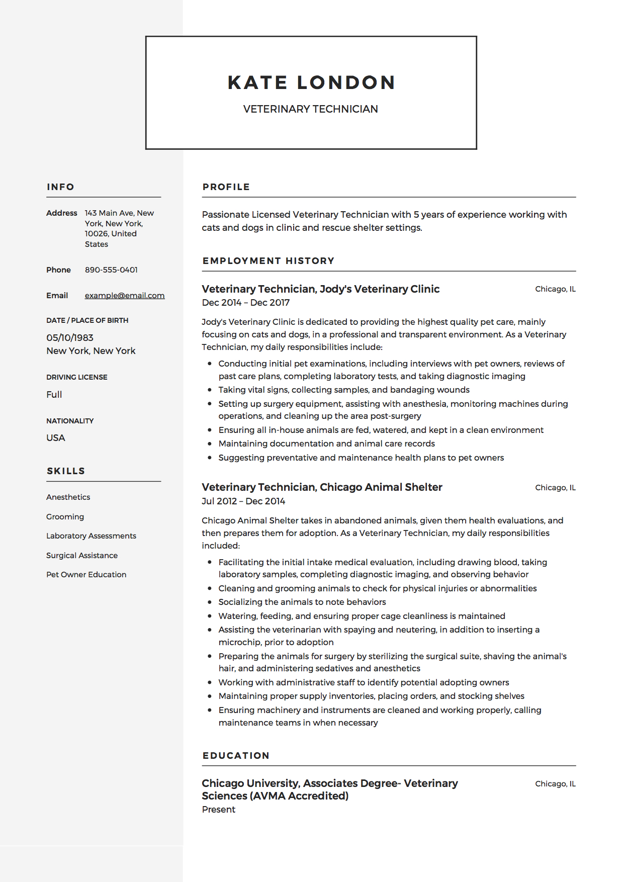 guide veterinary technician resume samples pdf example business operations template Resume Veterinary Technician Resume