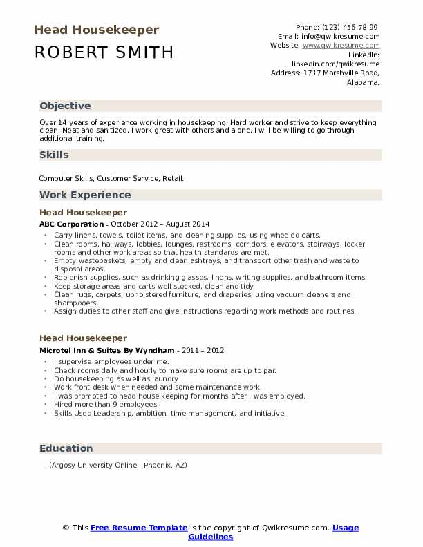 head housekeeper resume samples qwikresume additional training on pdf architectural Resume Additional Training On Resume