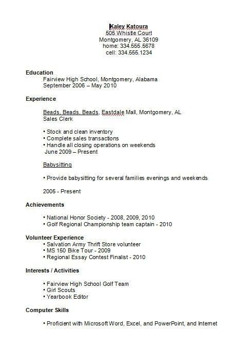 high school student resume examples first job business template for pertaining to sample Resume First Job High School Resume Sample