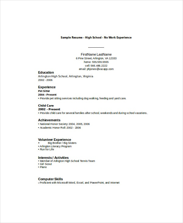 high school student resume templates pdf free premium for someone with little job Resume Resume For Someone With Little Job Experience
