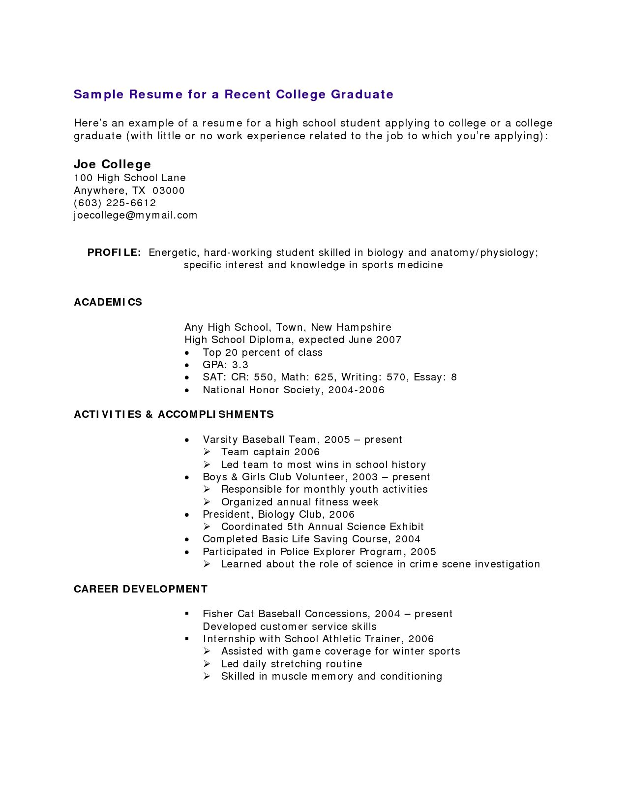 high school student resume with no work experience examples for students template college Resume Resume For Someone With Little Job Experience