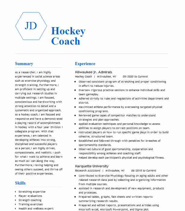 hockey coach resume example resumes livecareer professional player respiratory therapist Resume Professional Hockey Player Resume