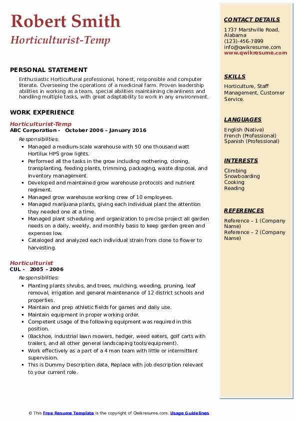 horticulturist resume samples qwikresume horticulture manager pdf assistance los angeles Resume Horticulture Manager Resume