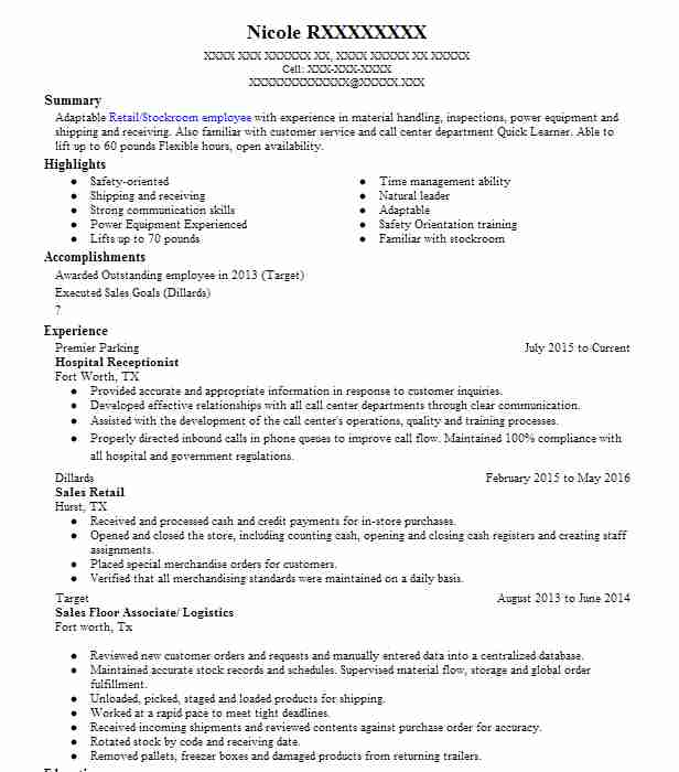 hospital receptionist resume example livecareer front office executive fresher middle Resume Front Office Executive Fresher Resume
