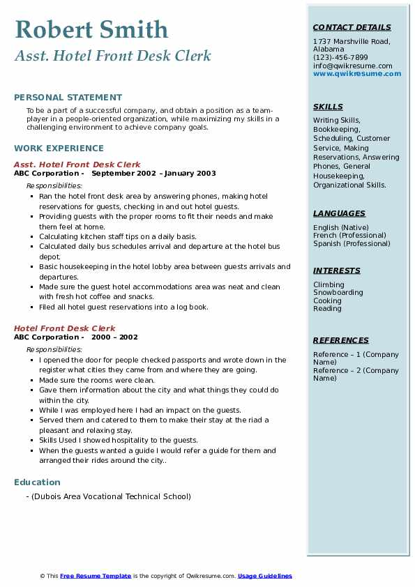 hotel front desk clerk resume samples qwikresume duties for pdf law school advice Resume Front Desk Clerk Duties For Resume