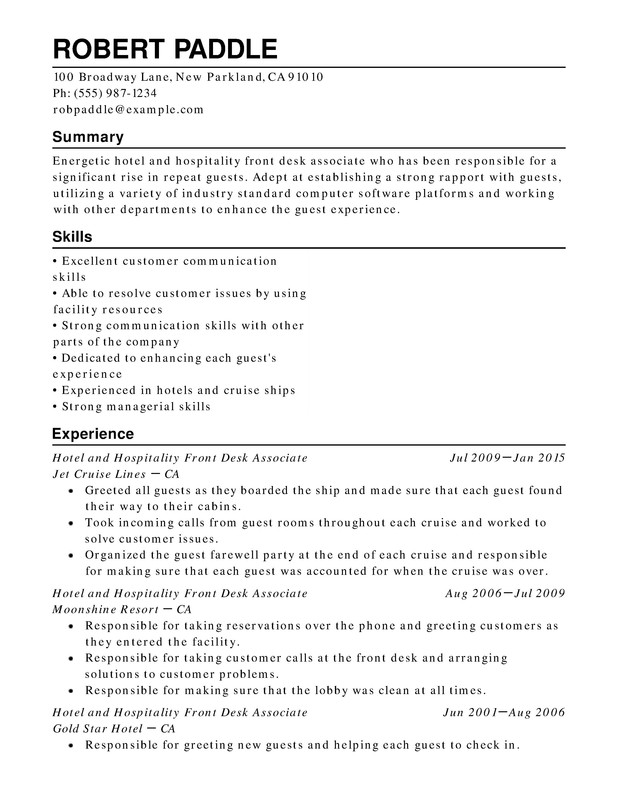 hotel hospitality chronological resume samples examples format templates help college Resume Hospitality Resume Examples
