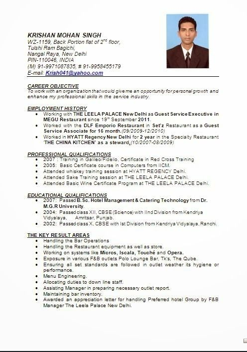 hotel management resume format pdf printable planner template wonderful in word job for Resume Resume Format For F&b Service Steward