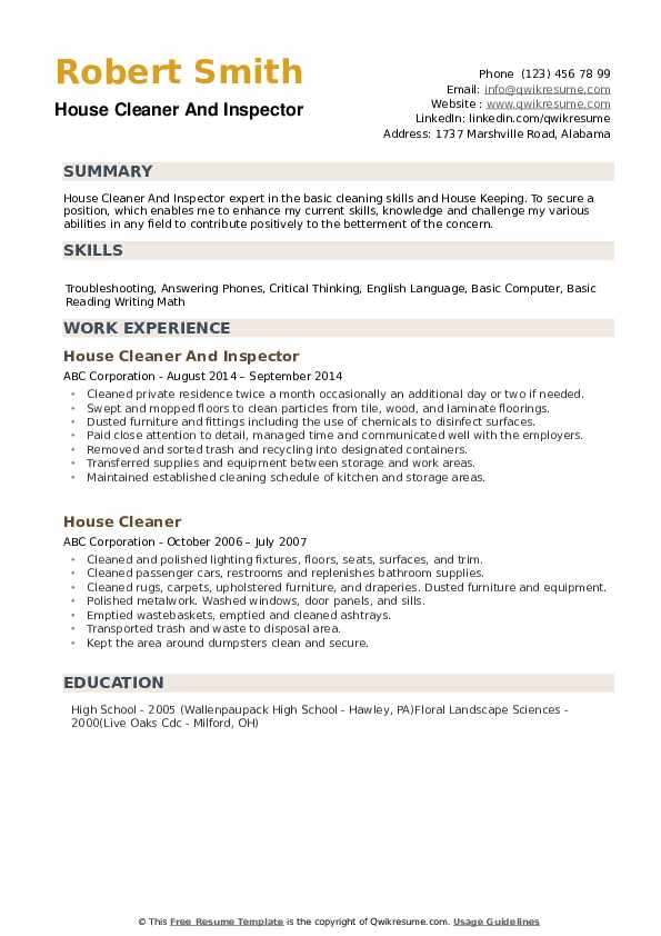 house cleaner resume samples qwikresume cleaning description for pdf materials manager Resume Cleaning Description For Resume