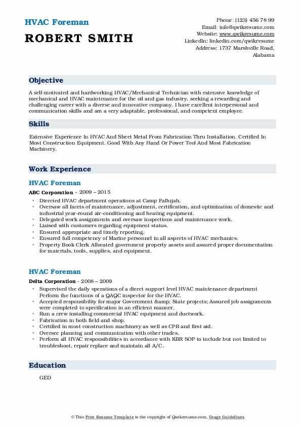 hvac foreman resume samples qwikresume sample pdf costume assistant summary examples for Resume Hvac Foreman Resume Sample
