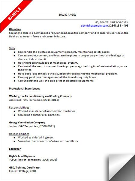 hvac technician resume sample medical templates examples for refrigeration and Resume Resume For Refrigeration And Airconditioning Mechanic