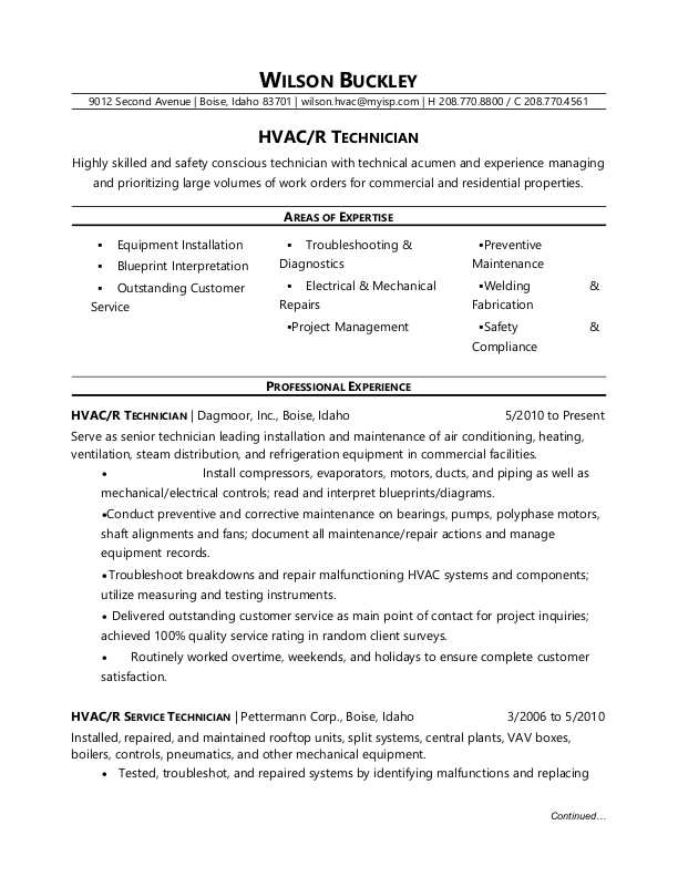 hvac technician resume sample monster for refrigeration and airconditioning mechanic Resume Resume For Refrigeration And Airconditioning Mechanic