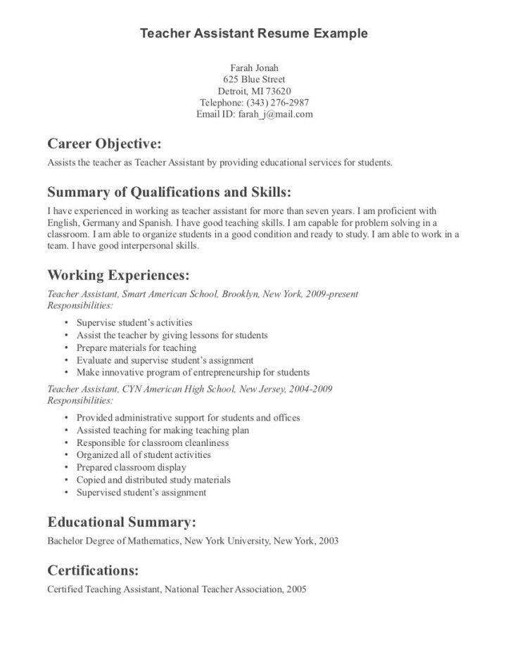 image result for teacher aide resume with no experience examples job samples teaching Resume Resume Template For Teacher Aide
