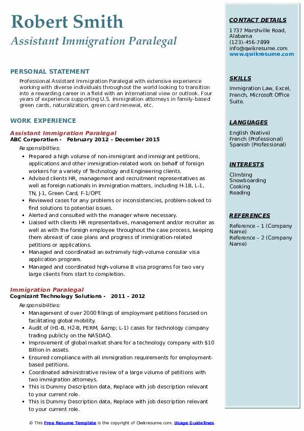immigration paralegal resume samples qwikresume sample h1b visa application pdf email Resume Sample Resume H1b Visa Application