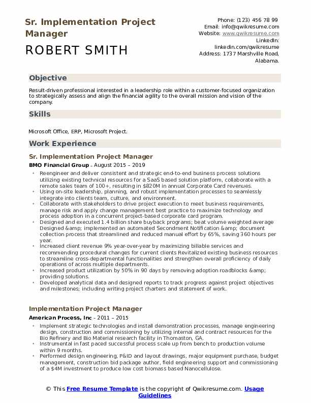 implementation project manager resume samples qwikresume pdf great professional templates Resume Implementation Project Manager Resume