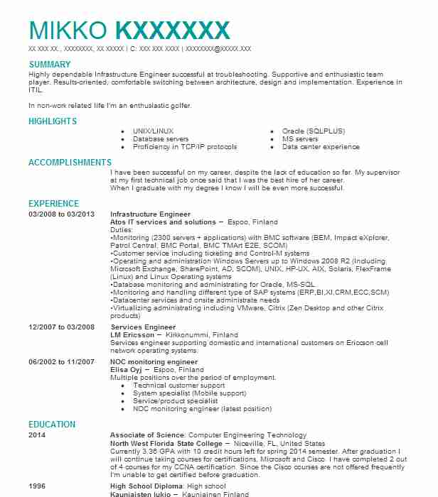 infrastructure engineer resume example auqkwa tech llc lakes new job duties for server on Resume Infrastructure Engineer Resume