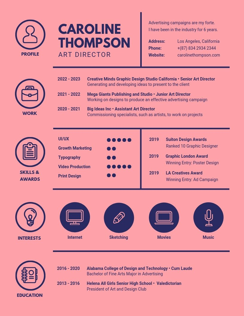 inspiring resume designs to learn from canva graphic design pink dark blue icons Resume Graphic Design Resume 2020