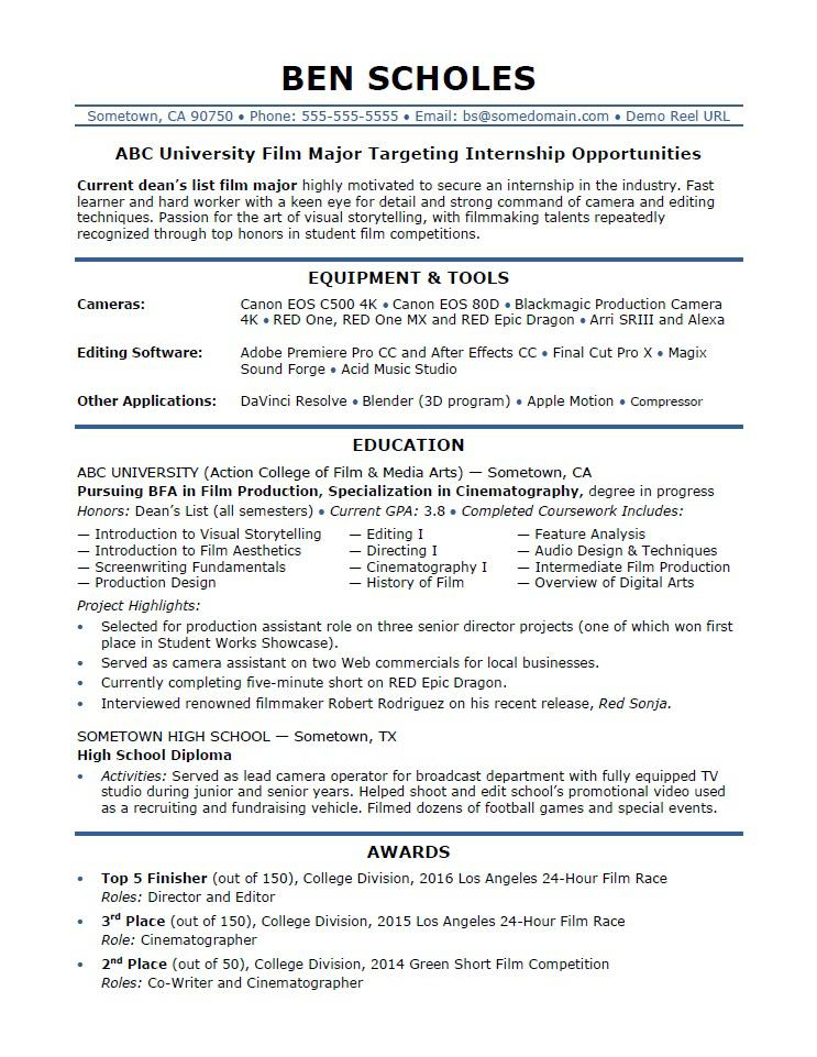 internship resume sample monster current college student film industry help entry level Resume Current College Student Resume