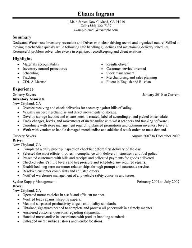 inventory associate and driver resume examples free to try today myperfectresume Resume Inventory Associate Resume