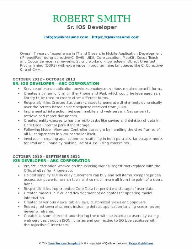 ios developer resume samples professional templates in examples business analyst sample Resume Ios Developer Resume Sample