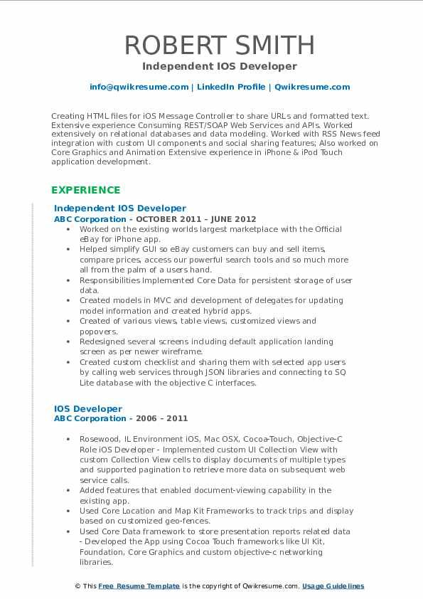 ios developer resume samples professional templates in medical examples sample sound Resume Ios Developer Resume Sample