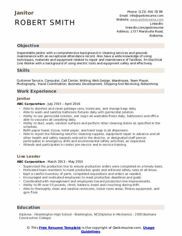 janitor resume samples qwikresume cleaning description for pdf sccm another word Resume Cleaning Description For Resume
