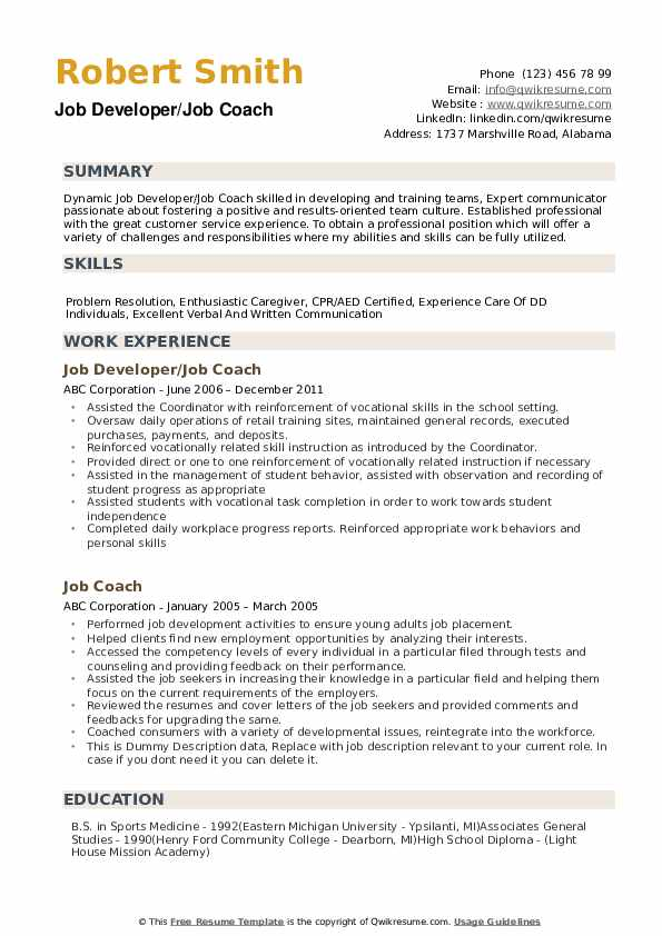 job coach resume samples qwikresume customer service pdf typing and contact information Resume Resume Coach Customer Service