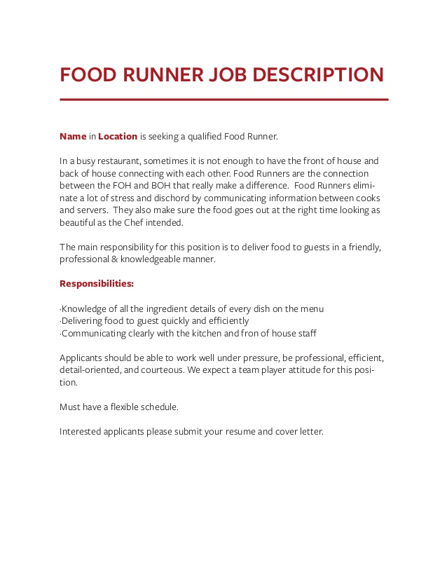 job description templates the definitive guide food runner for resume pocket macron Resume Food Runner Description For Resume