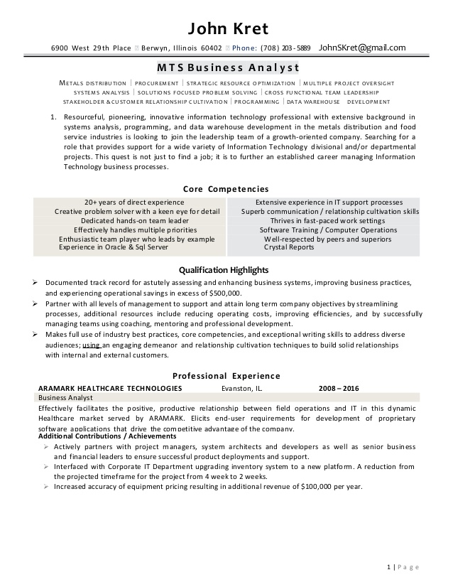john kret resume business analyst examples of core competencies on respite care Resume Examples Of Core Competencies On Resume