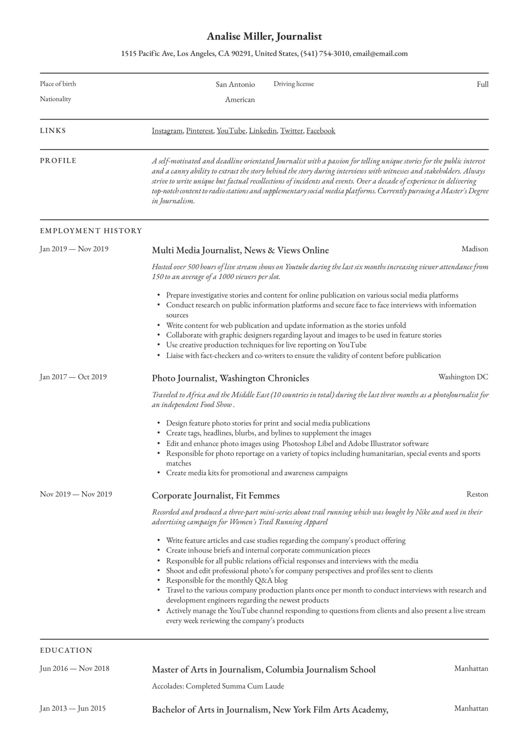 journalist resume writing guide templates another word for passionate on functional Resume Another Word For Passionate On Resume