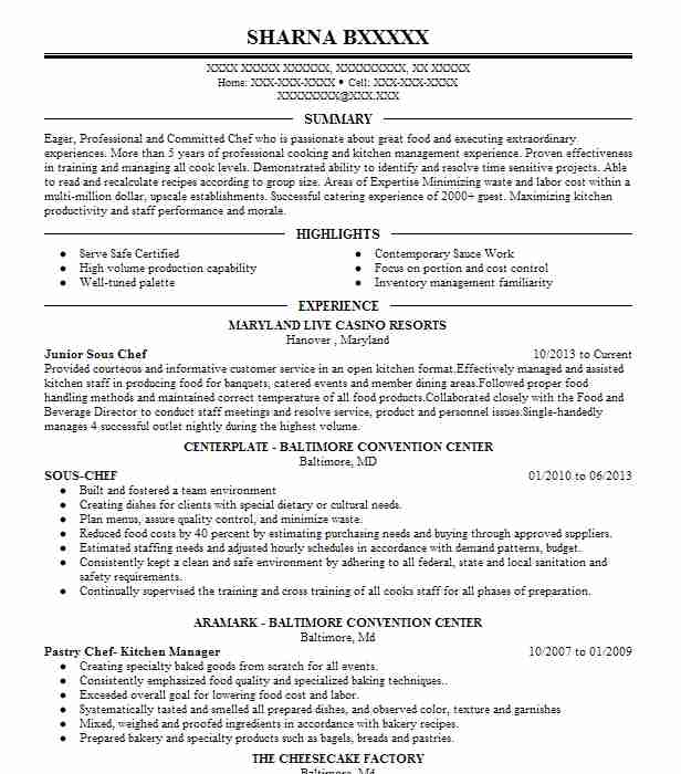 junior sous chef resume example resumes livecareer objective other section building Resume Sous Chef Resume Objective