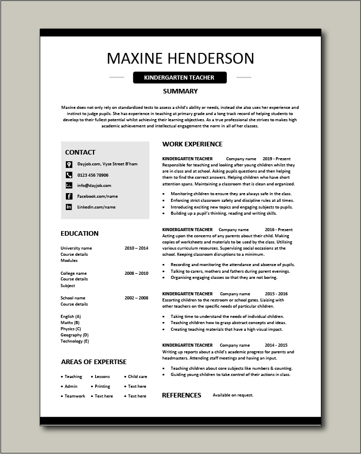 kindergarten teacher resume school example sample job description work experience Resume Kindergarten Teacher Skills Resume