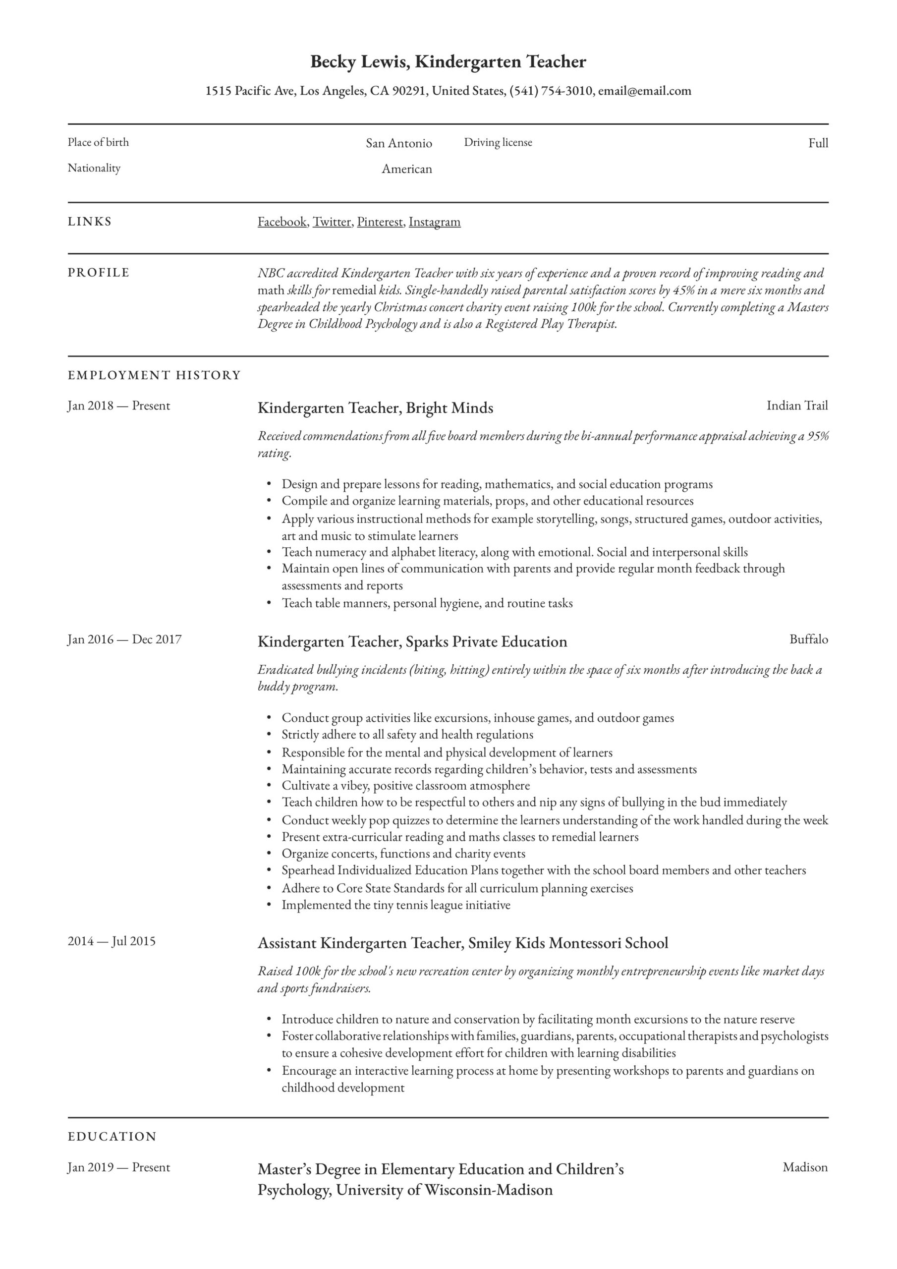 kindergarten teacher resume writing guide examples skills admin assistant sample big data Resume Kindergarten Teacher Skills Resume